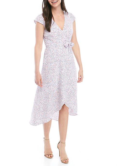 Cap Sleeve Confetti Wrap Dress