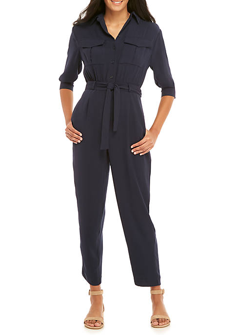 Madison Military Tie Waist Jumpsuit