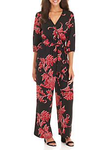 Crossover V-Neck Floral Jumpsuit
