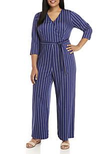 Madison Plus Size Stripe Knit Jumpsuit