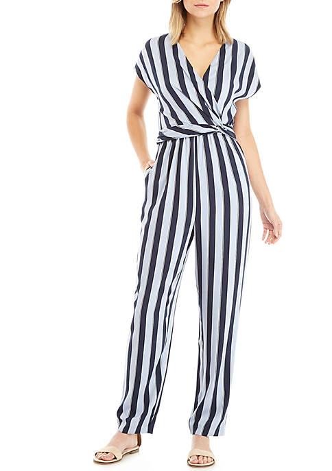 Madison Short Sleeve Wrap Stripe Jumpsuit