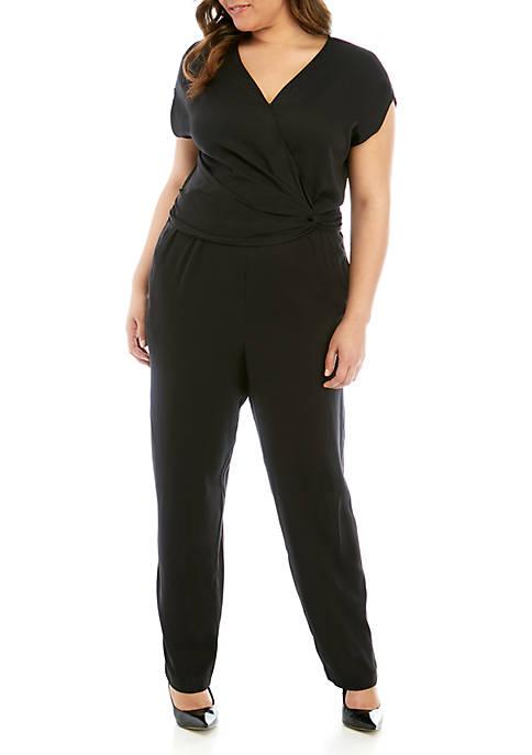 Plus Size Cap Sleeve Wrap Jumpsuit