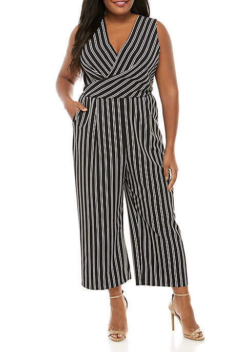 Madison Plus Size Black White Stripe Jumpsuit