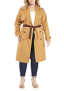 Plus Size Trench Coat with Striped Belt