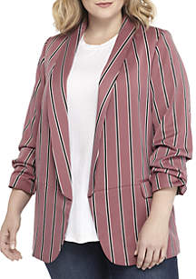 Plus Size Stripe Core Blazer