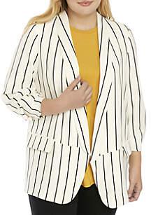 Plus Size Stripe Blazer