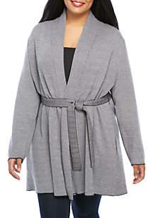 Plus Size Herringbone Wrap Sweater