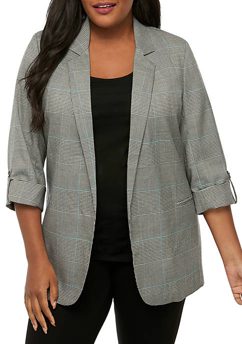 Plus Size Plaid Blazer