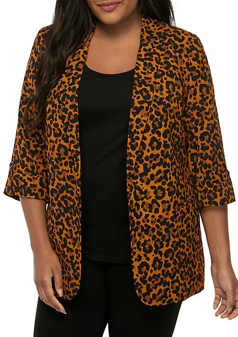 Madison Plus Size Animal Print Blazer