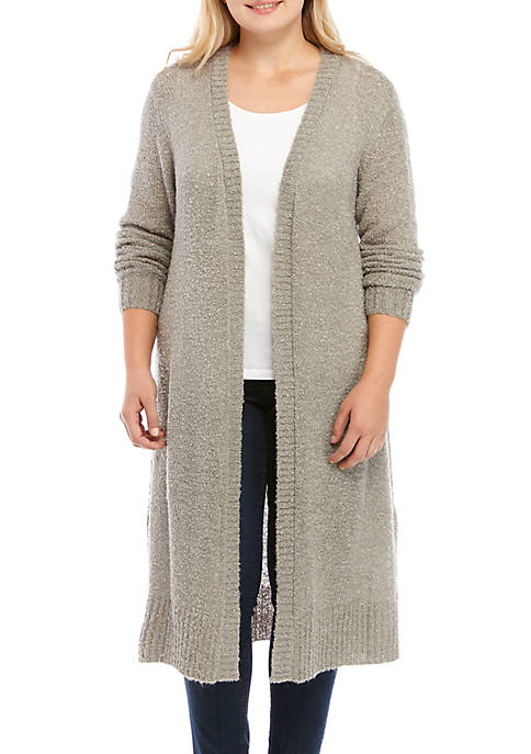 Plus Size Open Duster Cardigan