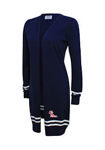 Ole Miss Cardigan with Striped Sleeve
