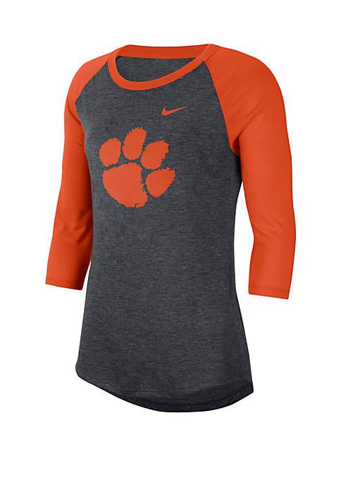 Nike® Clemson Tigers 3/4 Raglan Sleeve Dri Blend