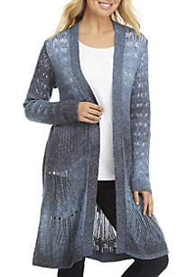 Long Sleeve Pointelle Distressed Ombre Cardigan