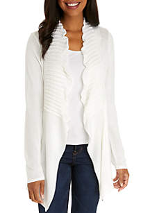 Long Sleeve Ribbed Ruffle Cardigan