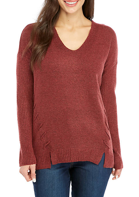 New Directions® Petite Long Sleeve Lace-Up Side Sweater