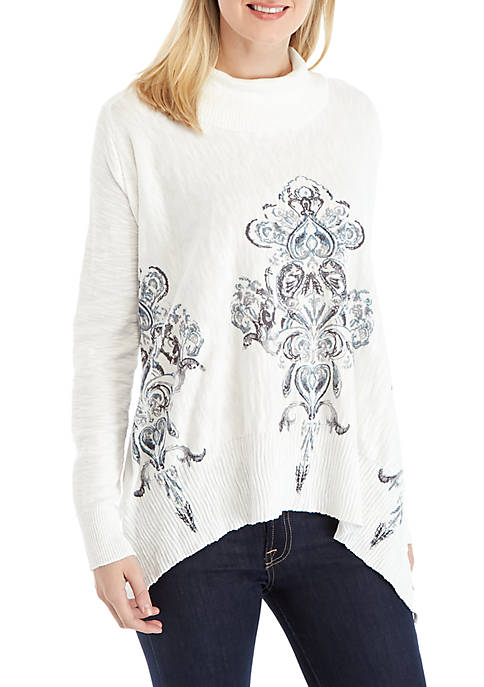 New Directions® Long Sleeve Cowl Neck Print Poncho