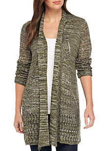 Long Sleeve Marled Cardigan with Pockets