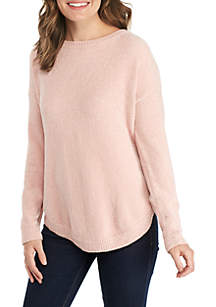 Long Sleeve Curved Hem Chenille Pullover
