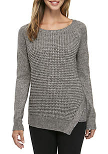 Long Sleeve Chunky Knit Metallic Pullover