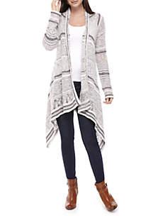 Long Sleeve Novelty Stripe Drape Front Cardigan