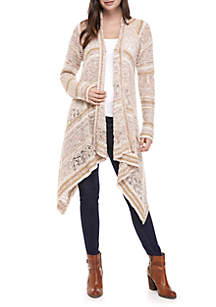 New Directions® Long Sleeve Novelty Stripe Drape Front Cardigan
