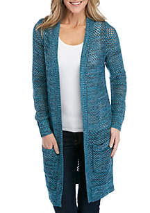 New Directions® Long Sleeve Open Stitch Pointelle Cardigan