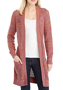 Long Sleeve Open Stitch Pointelle Cardigan