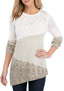 New Directions® Long Sleeve Marled Color Block Sweater