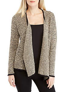New Directions® Long Sleeve Jacquard Cardigan with Contrast Trim