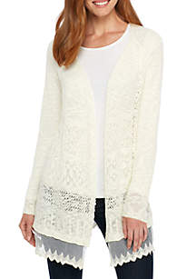 Lace Solid Cardigan