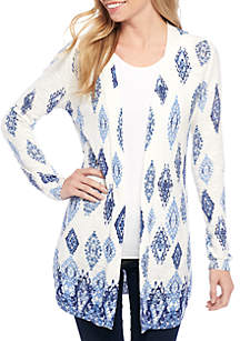 Long Sleeve Printed Drape Front Duster Cardigan