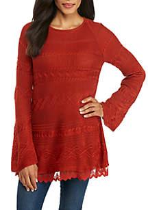 Long Sleeve Pattern Stitch Sweater with Lace Hem