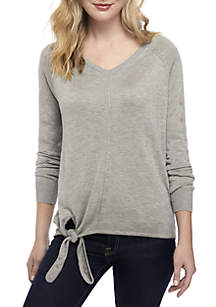 Long Sleeve Tie Front Pullover Sweater