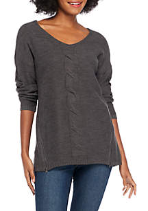 Cable Front Sweater with Zipper Detail