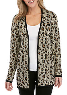 New Directions® Long Sleeve Leopard Jacquard Cardigan
