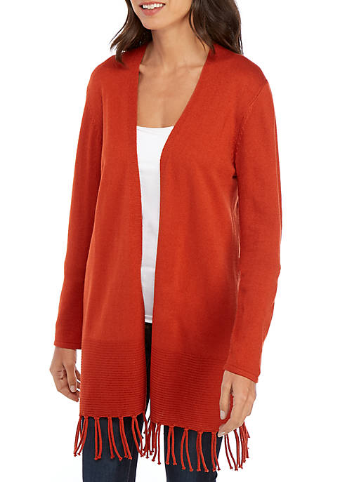 New Directions® Long Sleeve Cardigan with Fringe