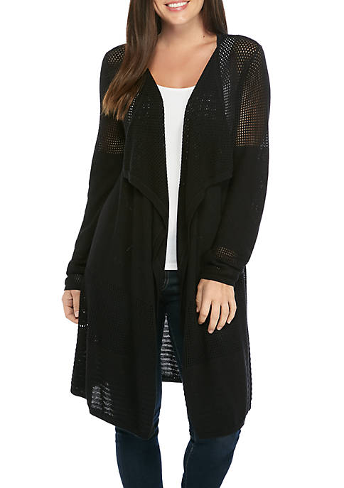 New Directions® Long Sleeve Mesh Cardigan
