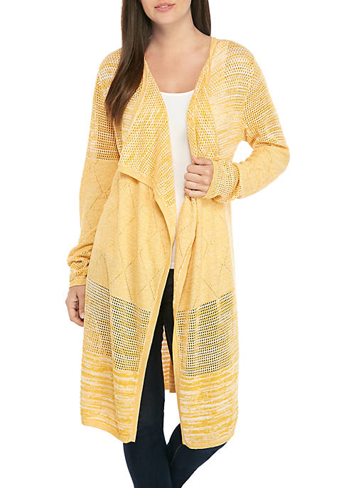 New Directions® Long Sleeve Marled Mesh Cardigan