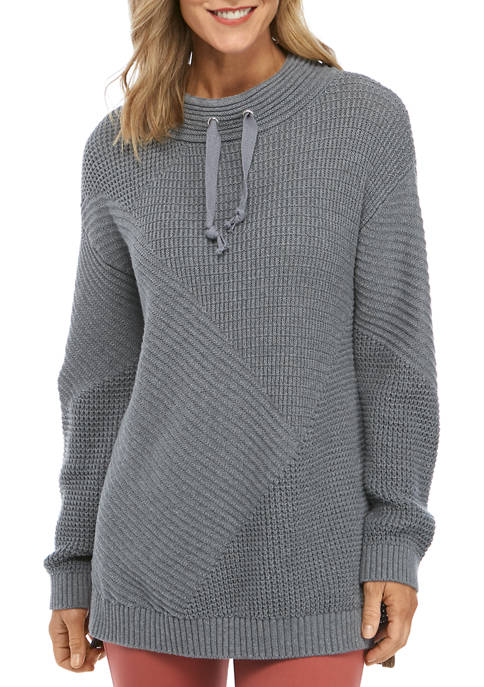 Womens Funnel Neck Seamed Sweater