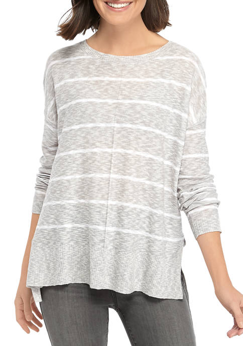 Womens Long Sleeve Solid Stripe Texture Sweater
