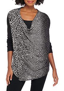 Petite Long Sleeve Asymmetrical Ombre Zip Cardigan