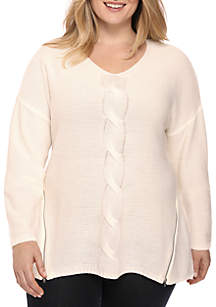 Plus Size Cable Side Zip Pullover