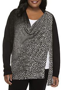 Plus Size Asymmetrical Ombre Zip Cardigan