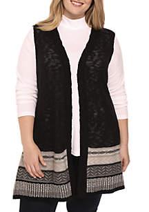 Plus Size Jacquard Vest