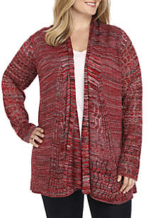 Plus Size Cable Knit Marl Cardigan