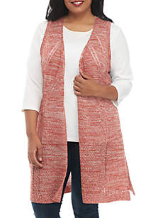 Plus Size Pointelle Marl Vest