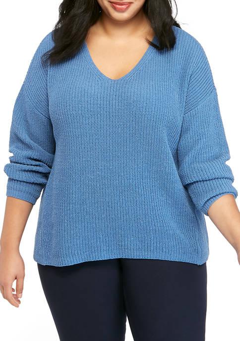 Plus Size V Neck Chenille Sweater