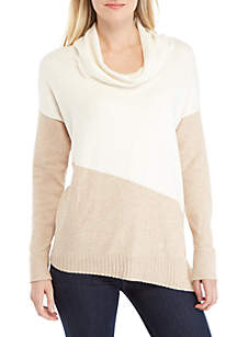 New Directions® Color Block Cowl Neck Sweater