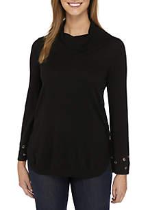 Long Sleeve Grommet Cowl Sweater