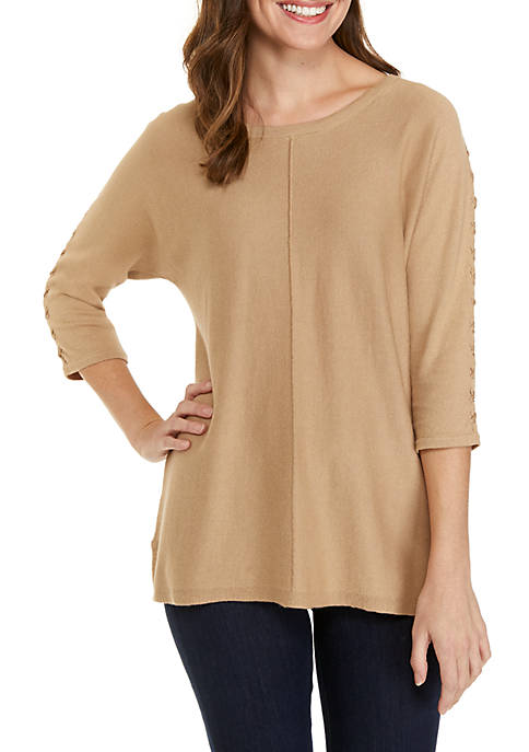 3/4 Lace Up Sleeve Pullover Sweater